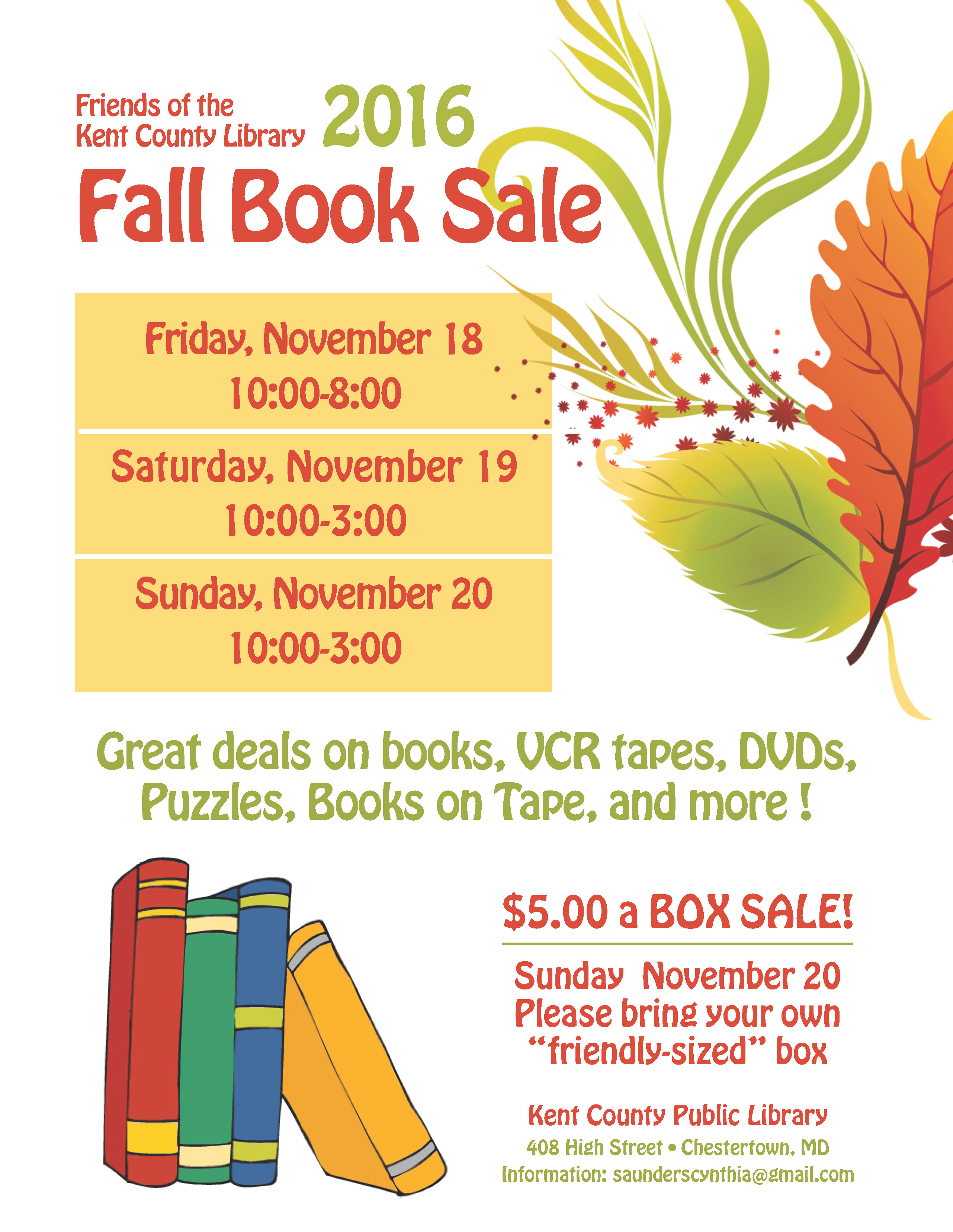 2016 Fall booksale poster